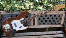 Pre-lawsuit Era All Original 1972 Antoria Jazz Bass Model 2376 Mahogany & Faux Croc Skin Flight Case.