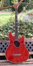 1987 Kramer Ferrington Acoustic KFB1 Bass In Cherry Red Finish & Flight Case