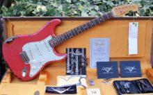 Awesome 2015 Fender Custom Shop Michael Landau 1963 Relic Strat Fiesta Red Over Sunburst & OHC