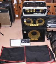 Complete Mark Bass Rig Inc The Multiamp S, Midi Pedal Board, Traveler 102P & 151P Cabinets, All With Covers.