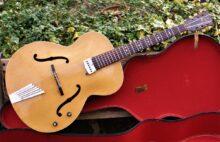 Gorgeous 1955 Hofner Senator Blonde Archtop Guitar w/Hofner Air Coil Pickup & Vintage Case