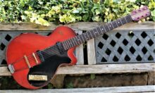 Beautiful & Rare 1959 Hofner Colorama ll Dark Red Cellulose & Gold Racing Stripes
